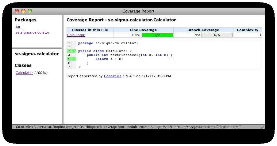Test coverage in a multi module Maven project